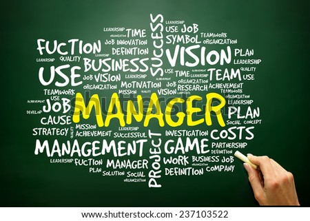 Hand drawn Word cloud of MANAGER related items, business concept on blackboard - stock photo