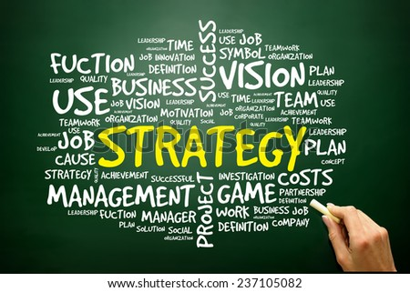 Hand drawn Word cloud of STRATEGY related items, business concept on blackboard - stock photo