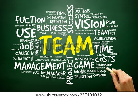 Hand drawn Word cloud of TEAM related items, business concept on blackboard - stock photo