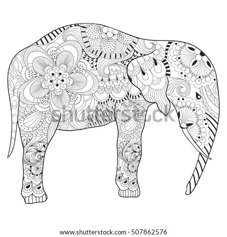 Hand Drawn Zentangle Elephant With Mandala For Adult Antistress Coloring Pages Art Therapy Post Card