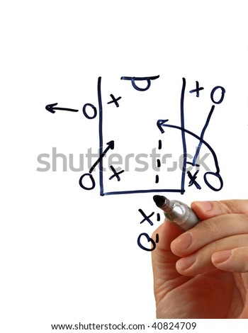 Hand draws a basketball play with a marker, isolated on a white background.