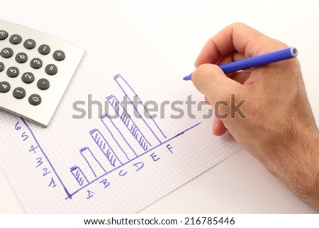 Hand draws a graph of blue, the calculator instrument.
