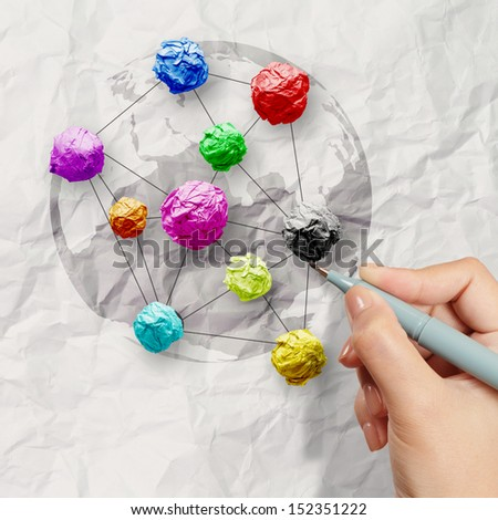 hand draws colors crumpled paper as social network structure on wrinkled paper creative concept  - stock photo