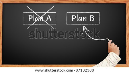 hand draws Crossing out Plan A and writing Plan B concept for change of plan on blackboard - stock photo