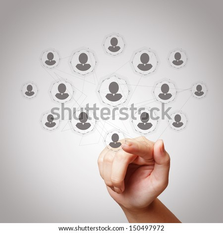 hand draws  social network structure as concept - stock photo