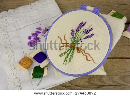 Hand Embroidery On Fabric Pattern Lavender Stock Photo Safe To Use