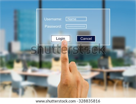hand entering password to accessthe company account - stock photo