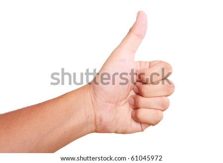 hand expressing positivity on white background. thumbs up - stock photo