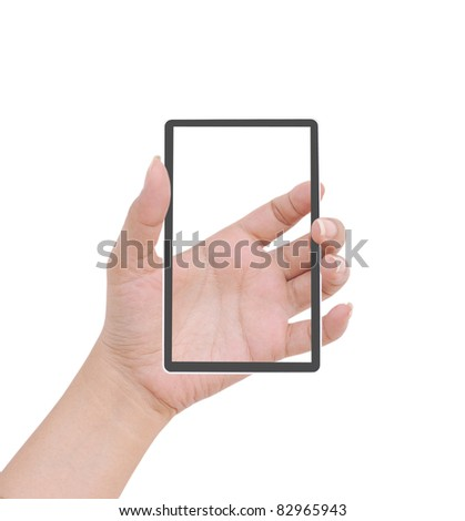Hand  female to hold card, mobile phone, tablet PC or other palm gadget, isolated on white - stock photo