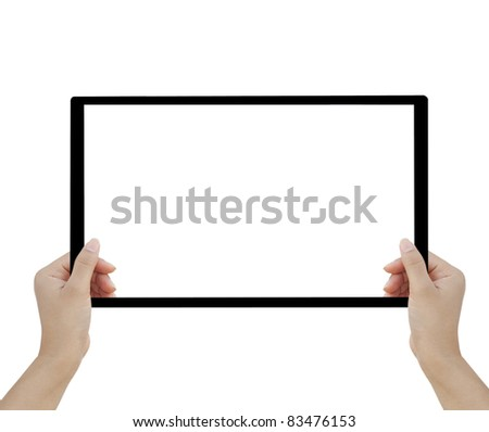 Hand female to hold card,  tablet PC - stock photo