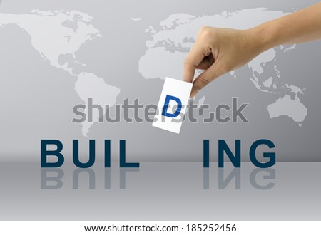 Hand Fill Letter for Complete Building word