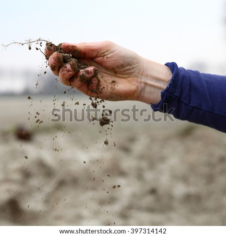 hand filled with sand/ clay/ hand filled with the sand of a farming field