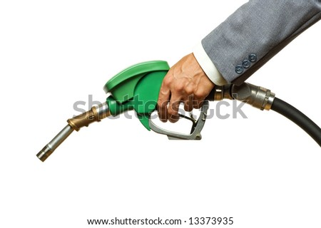 hand filling gas on white close up shoot - stock photo