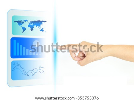 Hand finger with touch screen technology for multimedia - stock photo