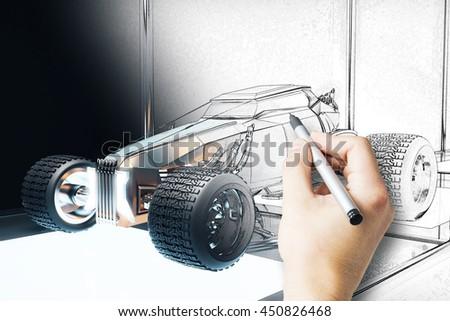Hand finishing hot rod car blueprint ilustracin de stock450826468 hand finishing hot rod car blueprint 3d rendering malvernweather Images