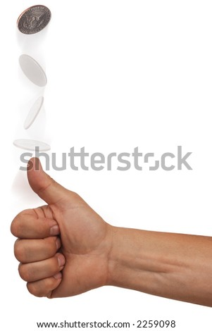 hand flipping a coin with multiple exposures on white background - stock photo