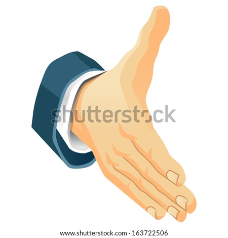 Hand for a welcome. It's a deal. Raster version, EPS file also included in the portfolio. - stock photo