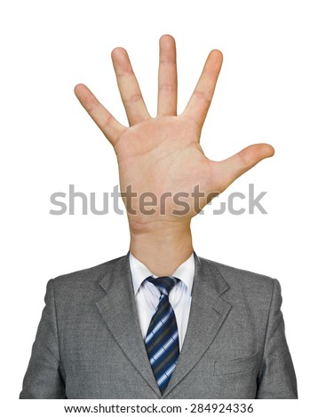 Hand for head isolated on white background - stock photo