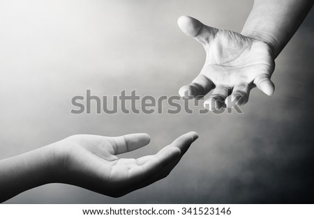 Hand for the opportunity and support. helping misery,wanting to help. Empty female open hand holding. The concept of aid. Open palm hand gesture of female hand. - stock photo