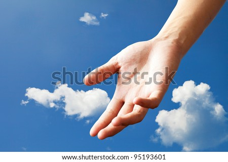 hand form sky - stock photo