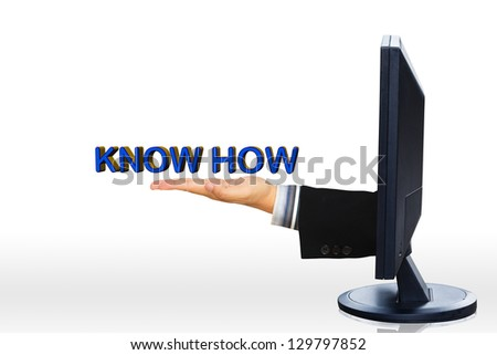 Hand from mornitor showing know how text, The concept of e-leaning - stock photo