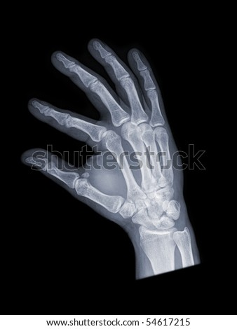 hand from the side, black background - stock photo