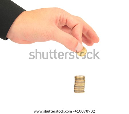 Hand gathering coin