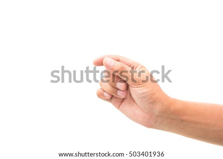 Hand gesture holding isolated on white