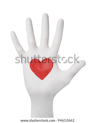 Hand gesture in glove wuth heart isolated - stock photo