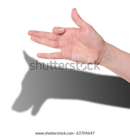 Hand gesture like dog face isolated on white background - stock photo
