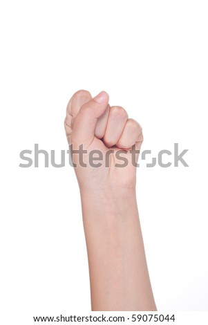 Hand gesture of female isolated on white