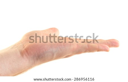 Hand gesture of invitation to keep fingers on a white background - stock photo