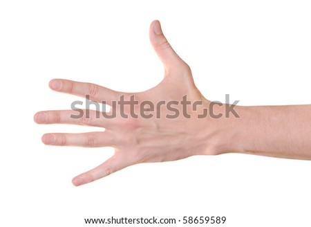 Hand gesture of male isolated on white - stock photo