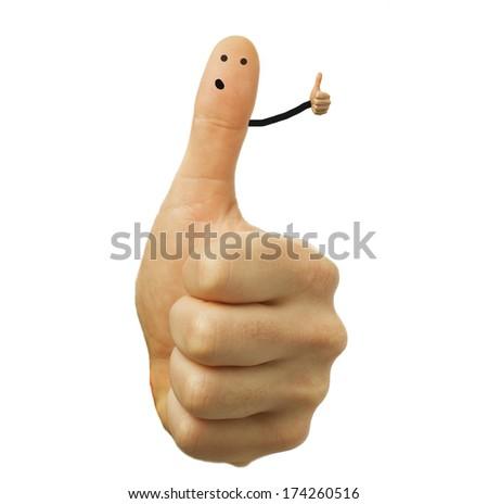Hand gesture okay on white background - stock photo