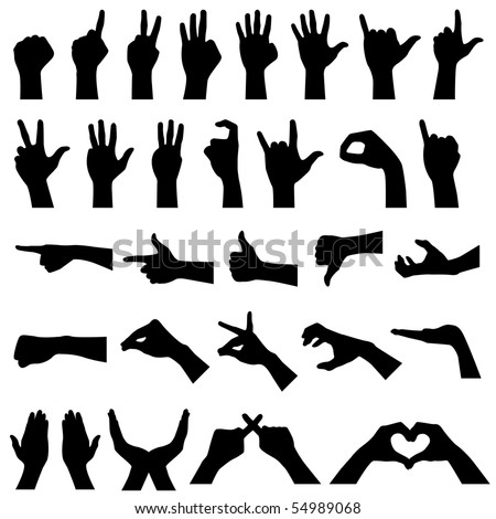 Hand Gesture Silhouettes in Raster - stock photo