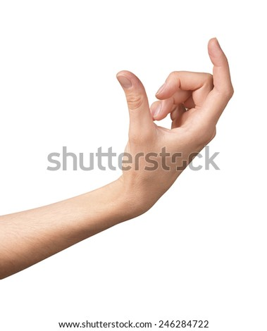 Hand gesture woman holds credit card - stock photo