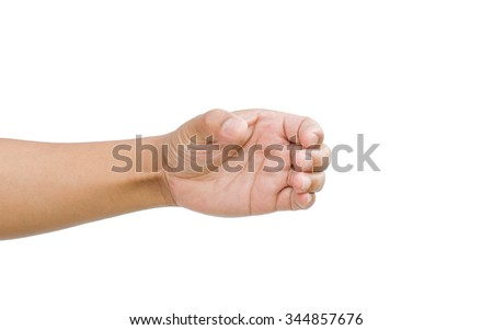 Hand gestures are captured something on a white background. - stock photo
