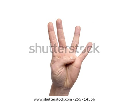 Hand gestures counting 4 - stock photo