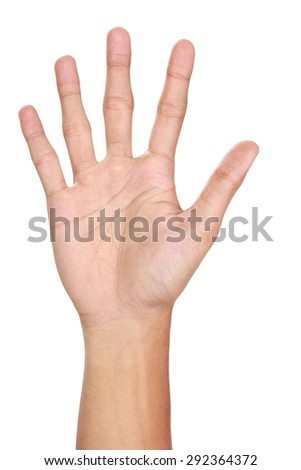 Hand gestures counting five, isolated in white background - stock photo
