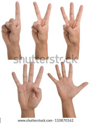 Hand gestures - counting from one to five. Isolated on white - stock photo