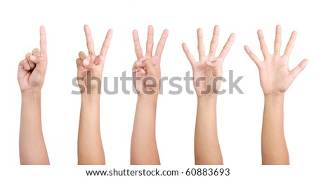 hand gestures counting from 1 to 5 - stock photo