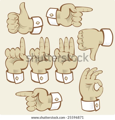 Hand gestures of voting, counting and directions.