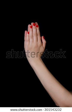 Hand gestures praying - stock photo
