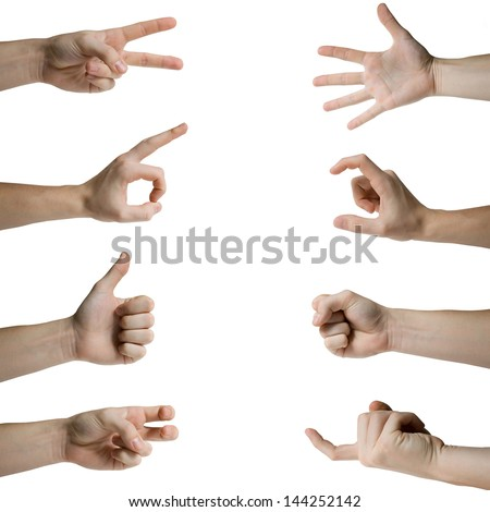 Hand gestures set isolated on white - stock photo