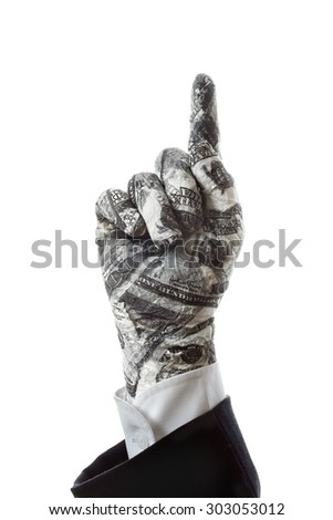 Hand gestures show Right the direction of financial success - stock photo