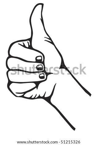 Hand gesturing thumb up. Vector version also available in my portfolio. - stock photo