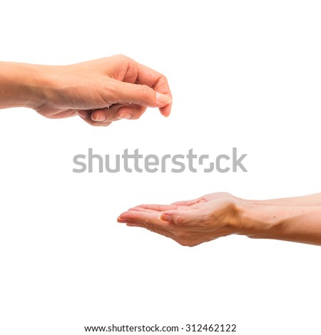 Hand give and take action isolated on white background.
