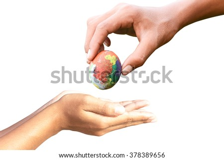 hand give Easter eggs