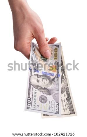 hand gives money  - stock photo