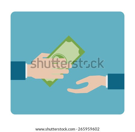 hand gives money flat icon - design element